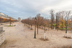 巴黎法国- 2012年11月24日:Tuileries庭院在巴黎,法国 晚秋天时间 库存照片