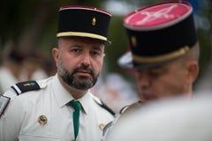 巴黎 法国 2012年7月14日 法国外籍兵团的Legioners在游行期间的在香榭丽舍大街 库存照片