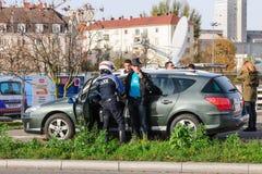 法国巴黎攻击-毗邻与德国的监视 库存图片