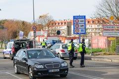 法国巴黎攻击-毗邻与德国的监视 免版税库存图片