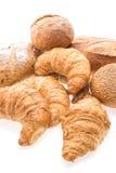 法国黄油新月形面包面包和面包店 免版税库存图片