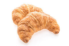 法国黄油新月形面包面包和面包店 库存照片