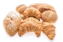 法国黄油新月形面包面包和面包店 免版税库存照片