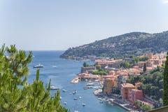 法国 滨海自由城镇和Villefranche海湾  免版税图库摄影
