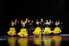 法国黄色玫瑰这法国康康舞这奥地利的世界舞蹈 库存照片