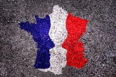 法国总统选举概念,法国的地图有2张面孔的 库存图片