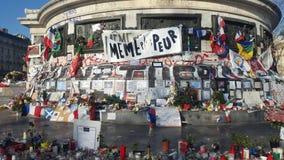 法国巴黎 12 12 2015年 Place de在Paris'attacks以后的la RA©publiquee,在2015年11月 库存照片