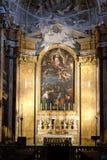 法坛在圣路易斯法国人,罗马教会里  库存图片