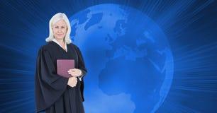 法官的数字式综合图象在地球的 免版税库存照片