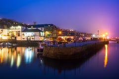 法尔茅斯港口夜 库存图片