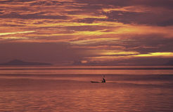 法属玻利尼西亚日落塔希提岛 库存照片