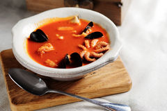 法式海鲜汤,法国鱼汤 图库摄影