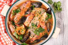 法式海鲜汤 免版税图库摄影