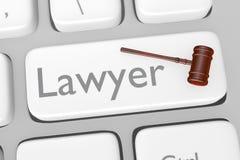 法律咨询在键盘的按钮 免版税库存照片