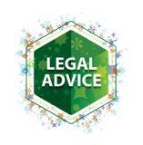 法律建议花卉植物样式绿色六角形按钮 库存例证