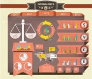 法律概念、减速火箭的Infographics和元素 免版税库存图片