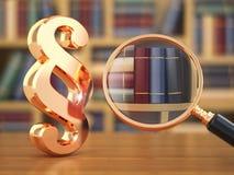 法律概念。段、寸镜和书。 免版税库存照片