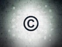 法律概念:在数字式纸背景的版权 免版税库存图片