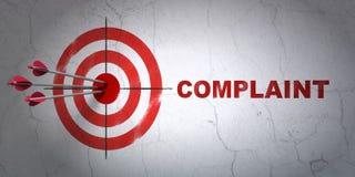 法律概念:目标和怨言在墙壁背景 库存图片