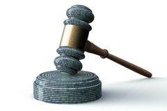 法律计算机法官概念,网络惊堂木, 3D例证 免版税图库摄影