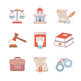 法律,法律、律师和法院稀薄的线被设置的象 免版税库存照片