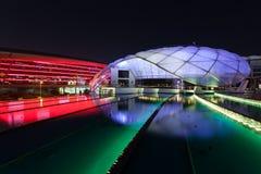 法拉利世界主题乐园在晚上,阿布扎比 库存照片