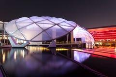 法拉利世界主题乐园在晚上,阿布扎比 免版税图库摄影