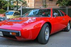 法拉利汽车的陈列在斯皮兰贝尔托,意大利街道上的  免版税库存照片