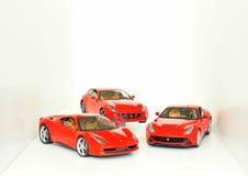 法拉利跑车:FF, F12 Berlinetta和458意大利 图库摄影