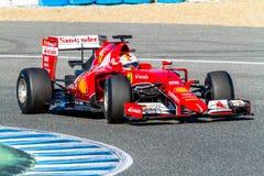 法拉利车队F1,赛巴斯蒂安・维泰尔, 2015年 免版税库存照片