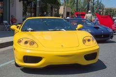 法拉利360挑战在显示的Stradale汽车 免版税图库摄影