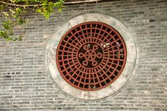 法海寺墙壁在扬州苗条西湖 免版税库存照片