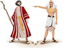 法老王为逾越节送摩西  库存例证