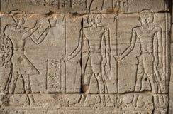 法老王和战士的图象在埃及人的墙壁上 免版税库存照片