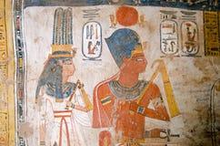 法老王阿蒙霍特普三世和女王Tiy 免版税库存图片