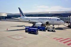 从法航(AF)的一架空中客车A318飞机在CDG 免版税库存图片