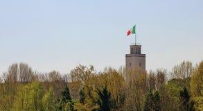 法西斯主义的olimpic复合体的塔在罗马,意大利 库存照片