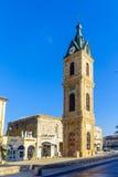 贾法角钟楼,现在一部分的TelAviv Yafo 库存照片