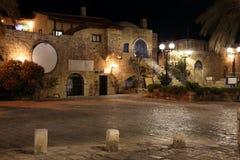 贾法角,特拉维夫夜,以色列老街道  免版税库存图片