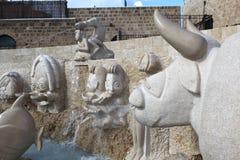 贾法角,以色列- 2010年12月31日:喷泉照片  免版税库存图片