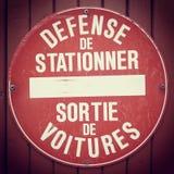法语禁止停车标志 免版税库存照片