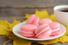 法语结块macaron或蛋白杏仁饼干 在一块白色板材,一杯咖啡的浅粉红色的macarons,黄色在葡萄酒木头离开 库存图片