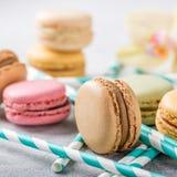 法语被分类的macarons 免版税库存照片