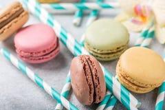 法语被分类的macarons 库存照片
