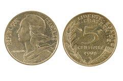 法语1998五(5)生丁硬币 图库摄影