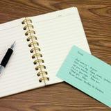 法语;学会在笔记本的新的语言文字词 库存照片