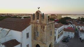 法鲁鸟瞰图有历史的大教堂的在老镇,葡萄牙中间 股票录像