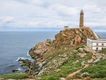 法鲁de在Camarinas附近的Cabo Vilan, La拉科鲁尼亚队,西班牙 免版税库存图片