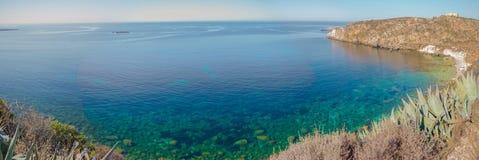 法维尼亚纳海岛,西西里岛,意大利全景  库存图片