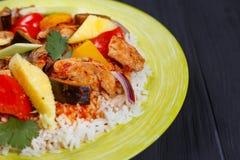 泛亚食物,与鸡,菠萝sl的开胃辣米 库存照片